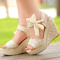 Fashion Womens Sweet Candy High Heel Solid Wedge Platform Sandals