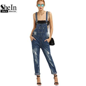 SheIn Blue Jean Jumpsuits For Women Casual Sleeveless Distressed Stone Wash Straps Denim Pockets Overall Jumpsuit