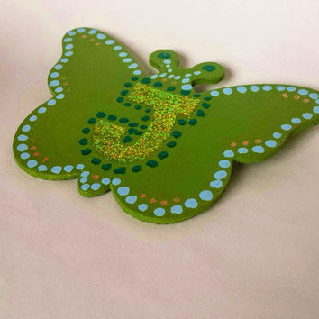 Green hand painted monogram butterfly brooch, initial brooch, initial jewelry, green butterfly, butterfly jewelry, green pin, gifts for her