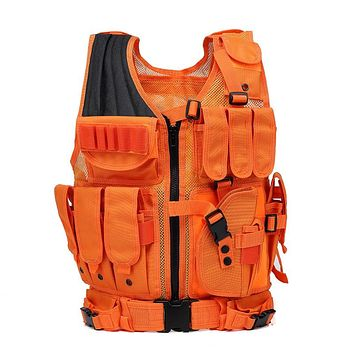 Bright Orange Tactical Style Hunting Vest - Also Great For Paintball!