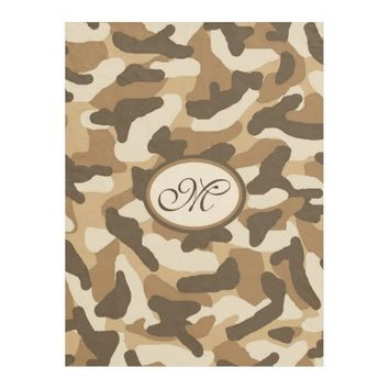 Monogram Personalized Brown Camo Camouflage Fleece Blanket