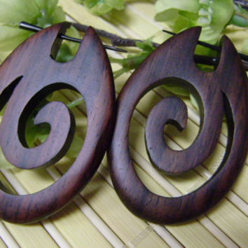 Fake Gauge Earrings,organic, Stick ,Wood Earrings , Tribal ,Cheater ,hand carved,organic,naturally