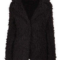 Tammy Oversized Collar Boiled Wool Coat in Black at Fashion Union
