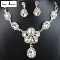 jiayijiaduo New Arrival silver-color Leaf Crystal Necklace Earrings for Women Wedding Jewelry Sets r Bridal Jewelry Sets