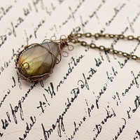 Beautiful Yellow Green Labradorite Wire Wrapped Pendant Necklace