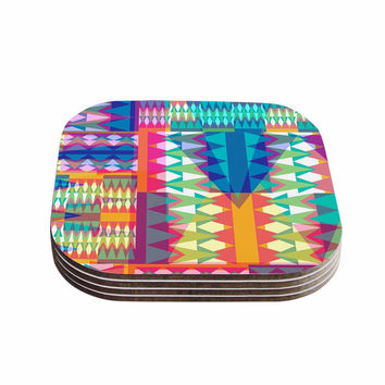 "Miranda Mol ""Triangle Quilt"" Multicolor Geometric Coasters (Set of 4)"