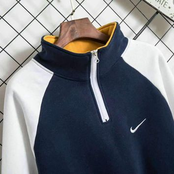 Nike High Quality Men Trending Long Sleeve High Neck Pullover Sweater Grey G-A-HRWM