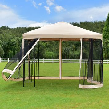 Goplus 10'x10' Gazebo Canopy Shelter Patio Wedding Party Tent Outdoor Awning with Netting Canopy Tent OP3182