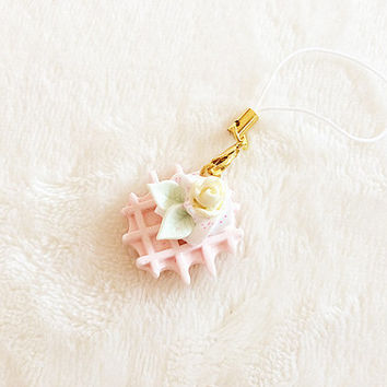 Kawaii Waffle Dust Plug - Pastel Pink Waffle Phone Strap - Sweets Deco Waffle Charm - Whip Cream - Angelic Pretty - Hime Gyaru - Floral Rose