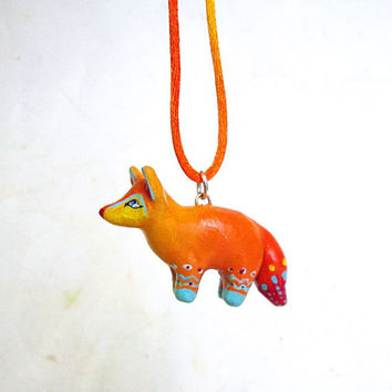 Fox Necklace, Ombre Orange Polymer Clay hand painted necklace, MADE TO ORDER