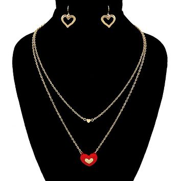 Gold Heart Layers Necklace Set for Love