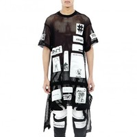 Patched Apron Net Tshirt
