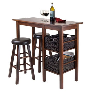 """Egan 5pc Table with 2 - 24"""" Round Cushion Stools and 2 Baskets"""