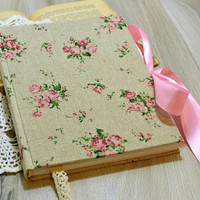 Floral handmade notebook with satin tie Hard fabric covered White sheet notebook Girl's personal diary Floral fabric journal Gifr for her