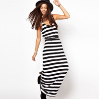 Black And White Striped Sleeveless Maxi Dress