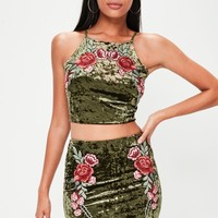 Velvet Floral Appliqué Crop Top