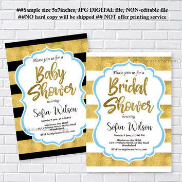 baby Shower OR  bridal shower, black and gold or white and gold invite, baby boy baby girl, wedding, party invitation - card 1220