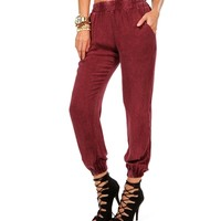Burgundy Mineral Wash Pants