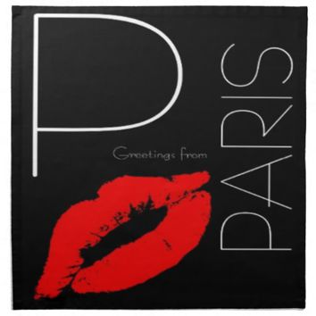 Greetings from Paris Red Lipstick Kiss Love Cloth Napkin