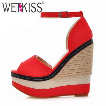 Sexy Open toe Weave Patch Color Wedges Gladiator Sandals Women 2016 High Heels Platform Sandals Summer Style Women's Shoes Woman