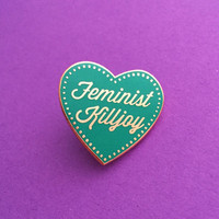 Feminist Killjoy Enamel Lapel Pin Badge in Teal and Rose Gold