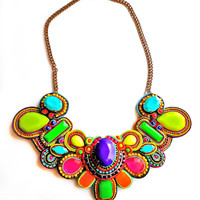 I'M a RAINBOW TOO soutache multicolour necklace in neons (free international shipping)