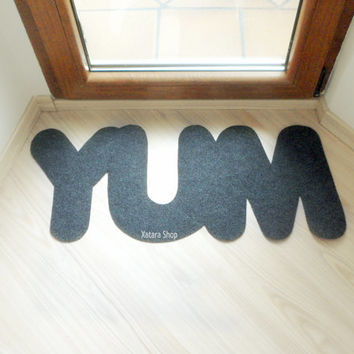 "Design door mat ""YUM"". Custom rug. Perfect for the kitchen"