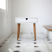 Nightstand / Bedside Table White, Style Mid-Century Modern Retro Scandinavian 1 or 2 drawers