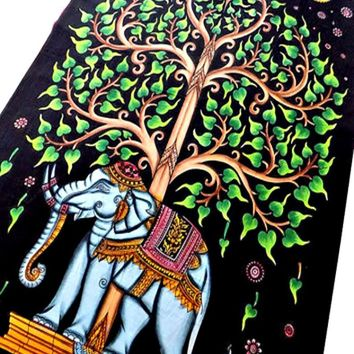 Elephant Tree Bohemian Boho India Wall Hanging Tapestry Beach Bed