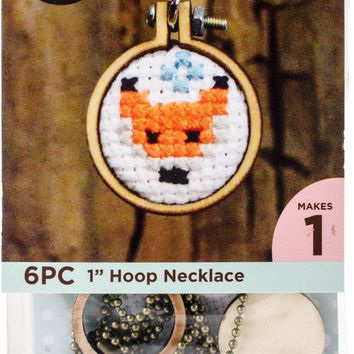Mini Embroidery Hoop Necklace Punched For Cross Stitch-Circle W/ Ball Chain