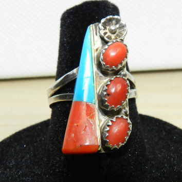 Vintage Navajo Old Pawn Southwestern Sterling Silver Red Coral Turquoise Ring Size 6.5 Signed CT Jewelry Jewellery