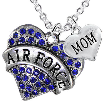 Air Force Mom Heart Charm Necklaces