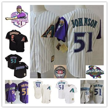 Arizona Diamondbacks Randy Johnson Throwback retirement Patch Jersey stitched #51 Randy Johnson 2001 World Series Baseball Jerseys S-3XL