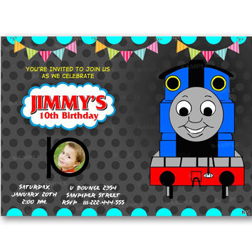 Thomas the Train Polka Dot Kids Birthday Invitation Party Design