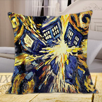 Dr Doctor Who Van Gogh Art on Square Pillow Cover, Pillow Covers, Decorative throw pillows, Throw pillows, Pillow cases, Customize Pillow, size 16 inch, 18 inch, 20 inch by FixCenters