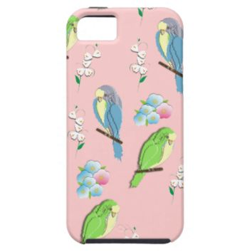 Cute Ditsy Birds and Flowers Graphic Cover For iPhone 5/5S