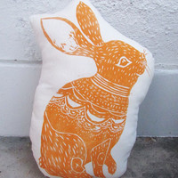 EASTER SALE. GIANT Plush Bunny Pillow. Hand Block Printed. Pick Your Colors.