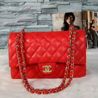 chanel Women Shopping Leather Handbag Tote Satchel Shoulder Bag Red