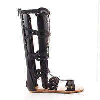Crossing03 Black Pu By Bamboo, Open Toe Mid Calf Slip On Zipper Gladiator Flat Sandal
