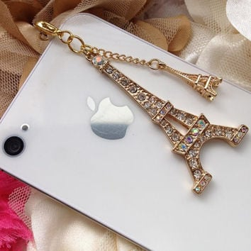 iPhone 5 dust plug  iphone 4  dust plug and charms Blackberry plug and charm- Eiffel Tower