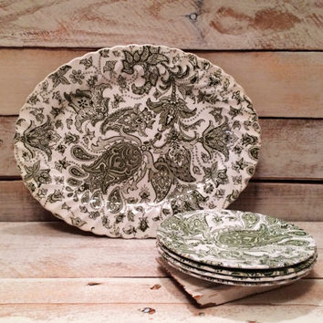Set of Vintage Forest Green Paisley Toile Dessert Dishes & Platter