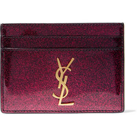 Saint Laurent - Glittered patent-leather cardholder