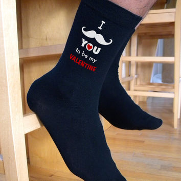 I Mustache You To Be My Valentine, Valentine Socks, Custom Printed Personalized Men's Flat Knit Black Dress Socks Socks, Valentine Gift Idea