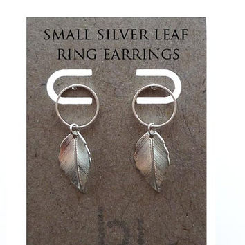 Small Silver Leaf Circle Earring Studs, Silver, Circle Earrings,Small Silver Earrings, Earring Studs