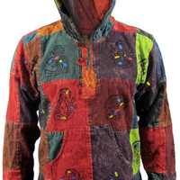 Hippie Collarless Grandad Stonewashed Cotton Natural Painted Patchwork Gypsy Boho Shirt Top OM Nepalese Hoody