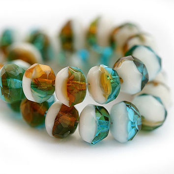 Czech glass beads, mixed ocean color teal, amber, white, donut, rondelle - 6x8mm - 12Pc - 0412