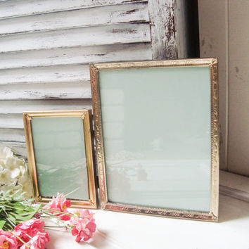 Gold Vintage Ornate Filigree Frames, Metal Thin Picture Frames, 8 x 10 Double Frames, Shabby Chic, Wedding Frames, Glass and Backing Frames
