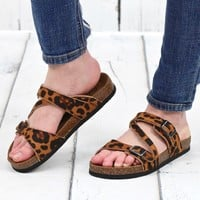 Bork Strappy Classic Slide On Sandals {Leopard}