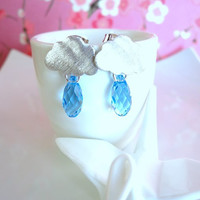 Silver rainy cloud blue Swarovski crystal earrings