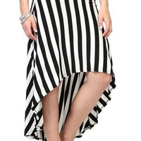black and white stripe high low skirt - 1000049668 - debshops.com